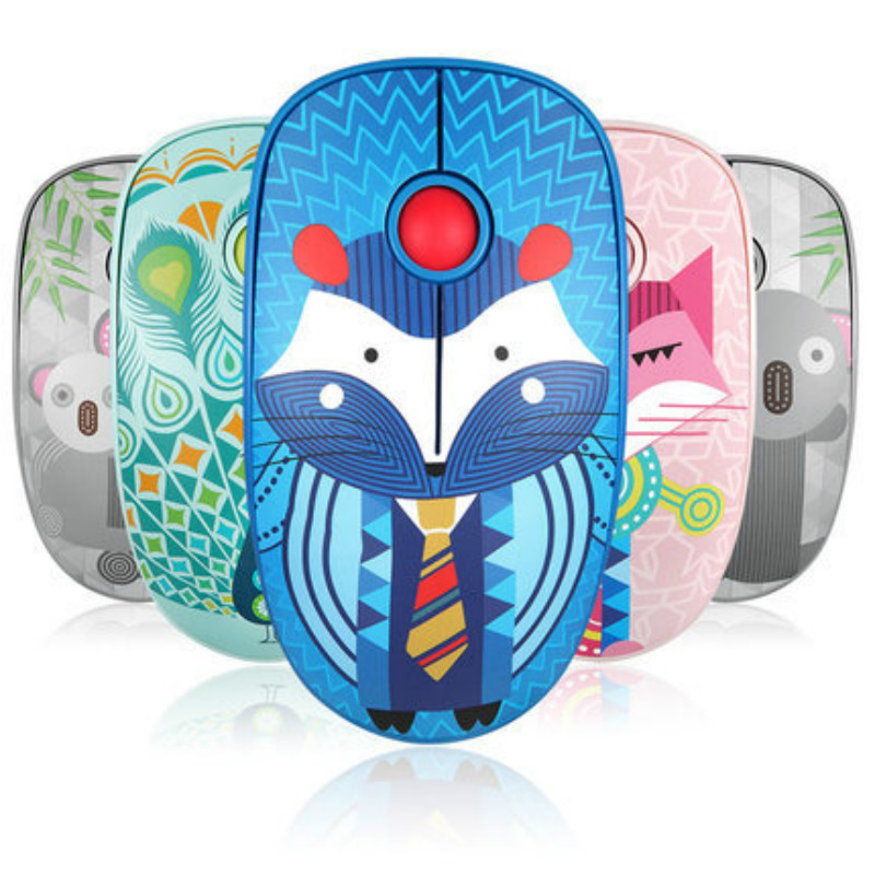 Retro Fox Pattern Wireless USB Mouse 1600DPI  Optical Computer Mouse 2.4GHz Ergonomic Mice For Laptop PC Mouse For Girl Office