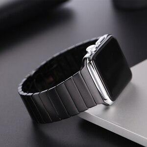 Image 2 - Edelstahl strap für Apple Uhr band 44/40mm iWatch band 42mm/38mm Schmetterling schnalle metall Armband Apple uhr 6 SE 5 4 3