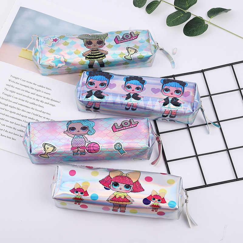Laser pu printing LOL surprise doll cute cartoon green print square octagonal pencil case pen case pencil bag back to school