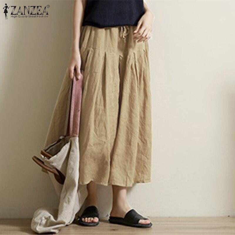 ZANZEA 2019 Fashion   Wide     Leg     Pants   Women Casual Solid Elastic High Waist Long Trousers Streetwear Vintage Solid Pantalones Mujer