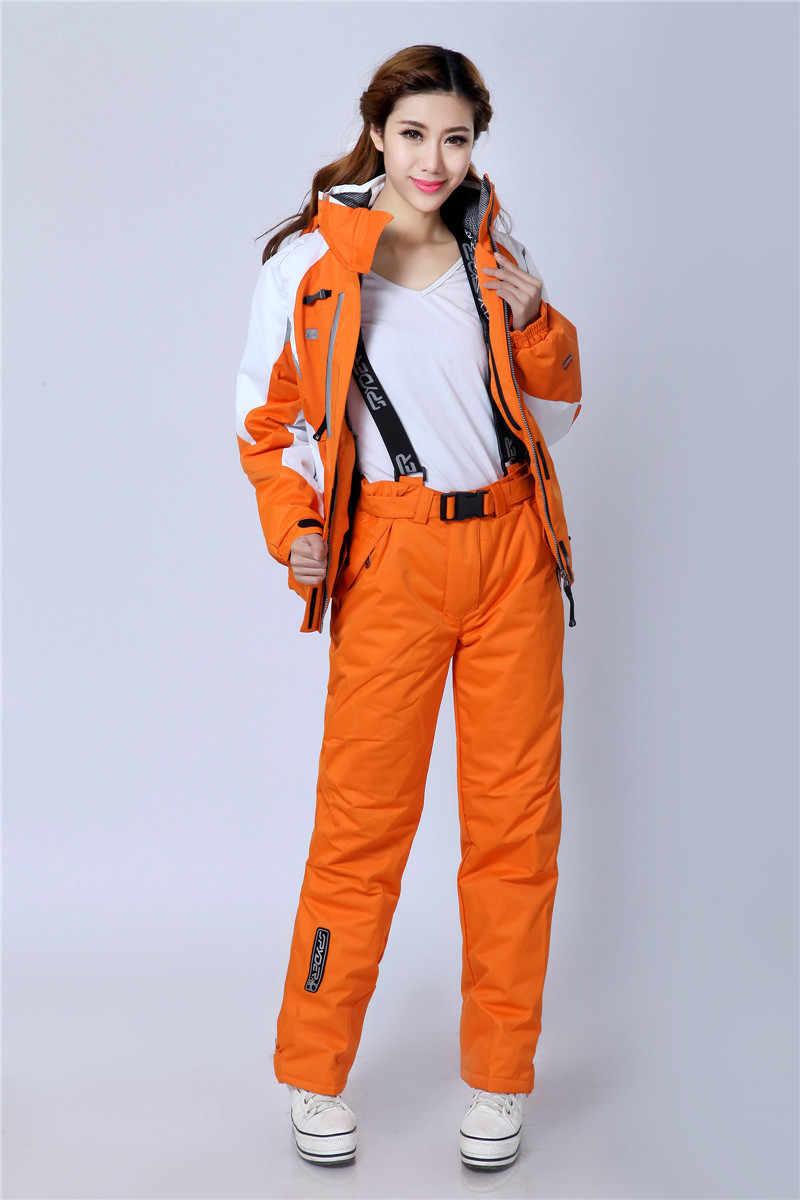 2020 Baru Menebal Hangat Tahan Angin Musim Dingin Wanita Snowboard Set Ski Jaket dan Celana Pakaian Wanita Ski Pakai Tahan Air Ski Salju suit