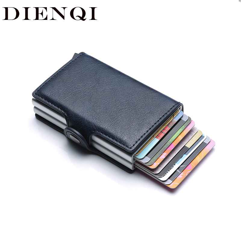Rfid Blocking Protection Men Id Credit Card Holder Wallet Leather Metal Aluminum Business Bank Card Case CreditCard Cardholder