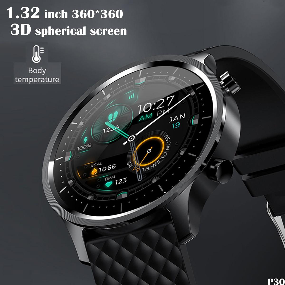 P30 2021 NEW Smart Watch Men 3D Spherical Full Touch Screen Fitness...