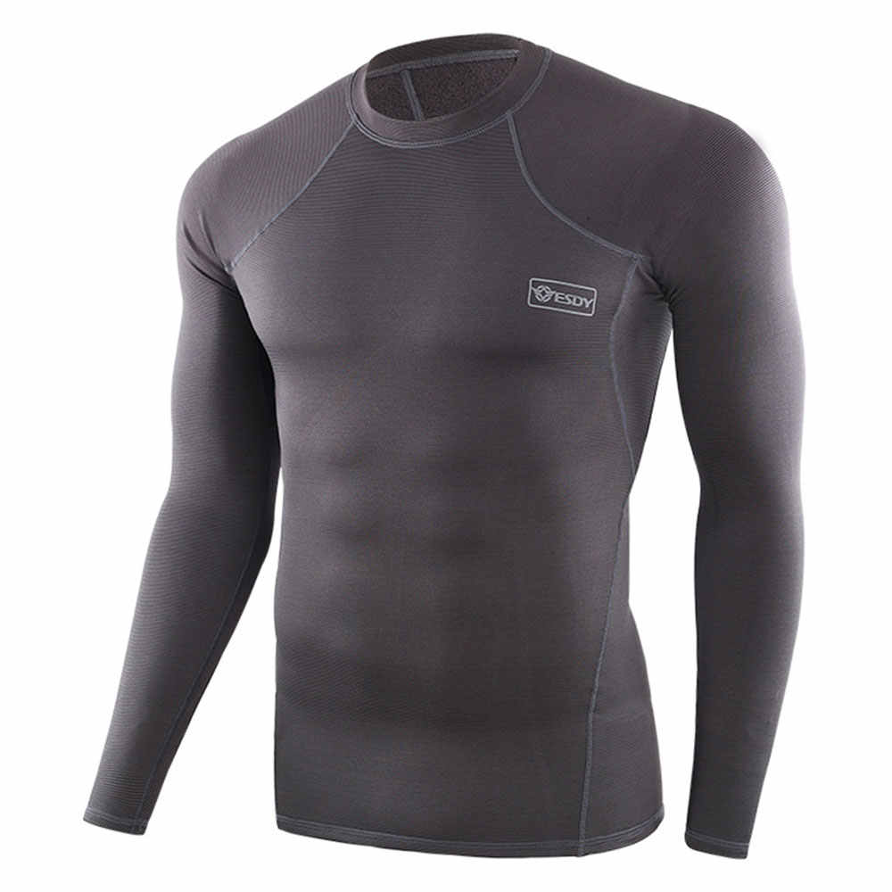 Esdy Pria Bulu Berjajar Thermal Underwear Set Motor Ski Lapisan Dasar Musim Dingin Hangat Panjang Johns Polo Shirt Bawah suit Abu-abu