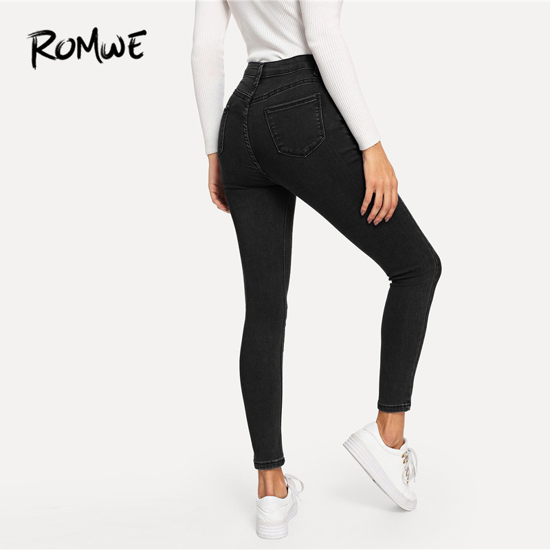 ROMWE Solid Skinny Jeans Woman 2019 Spring Autumn Casual High Waist Jeans Streetwear Denim Pants Zipper Fly Denim Trousers