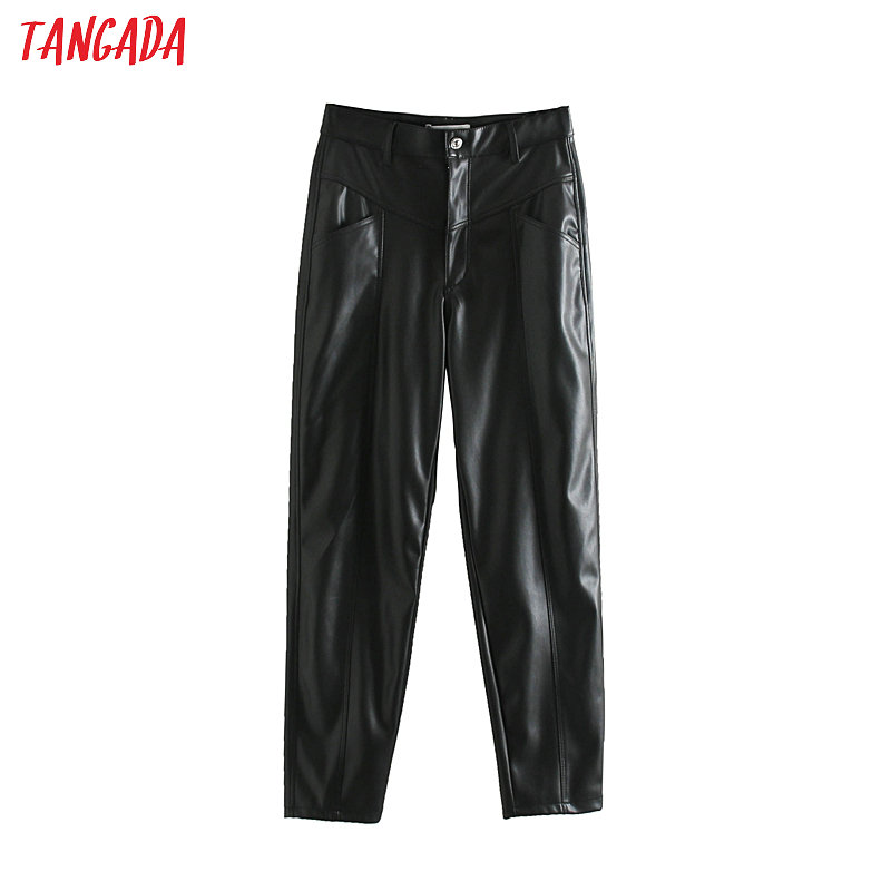 Tangada Women Black Faux Leather Suit Pants Zipper Big Pockets Vintage Casual Ladies Pu Leather Trousers JE69