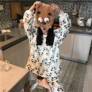 Image 4 - 2020 mignon panda pyjama polaire pyjama femmes automne et hiver pyjama avec pantalon flanelle maison porter deux pièces costume