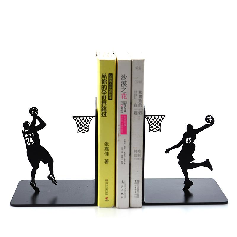 Creative Basketball Metal Bookends Book Holder Stand Simple Playing Basketball 24 Book End, Students Boy Birthday Gift