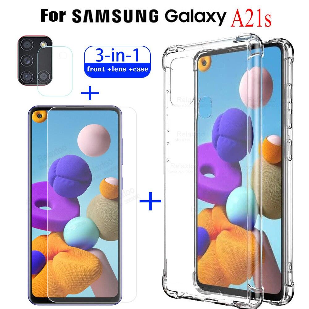 Прозрачный силиконовый чехол 3 в 1 из ТПУ для Samsung A21s, закаленное стекло для Galaxy A21s, A21 s, Защитная пленка для камеры