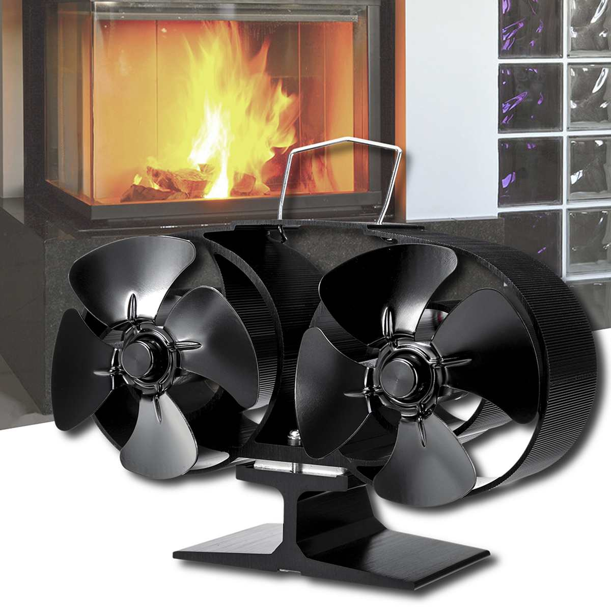 8 Blade Stove Fan Hot Power Heat Furnace Fireplace Fan Heat Powered Household Efficient Heat Distribution Wood Stove Fan