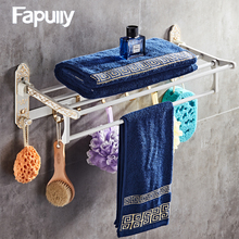 Fapully Bathroom Shelf White Movable Bath Towel Holder Rack Wall Mounted with Hook Accessories