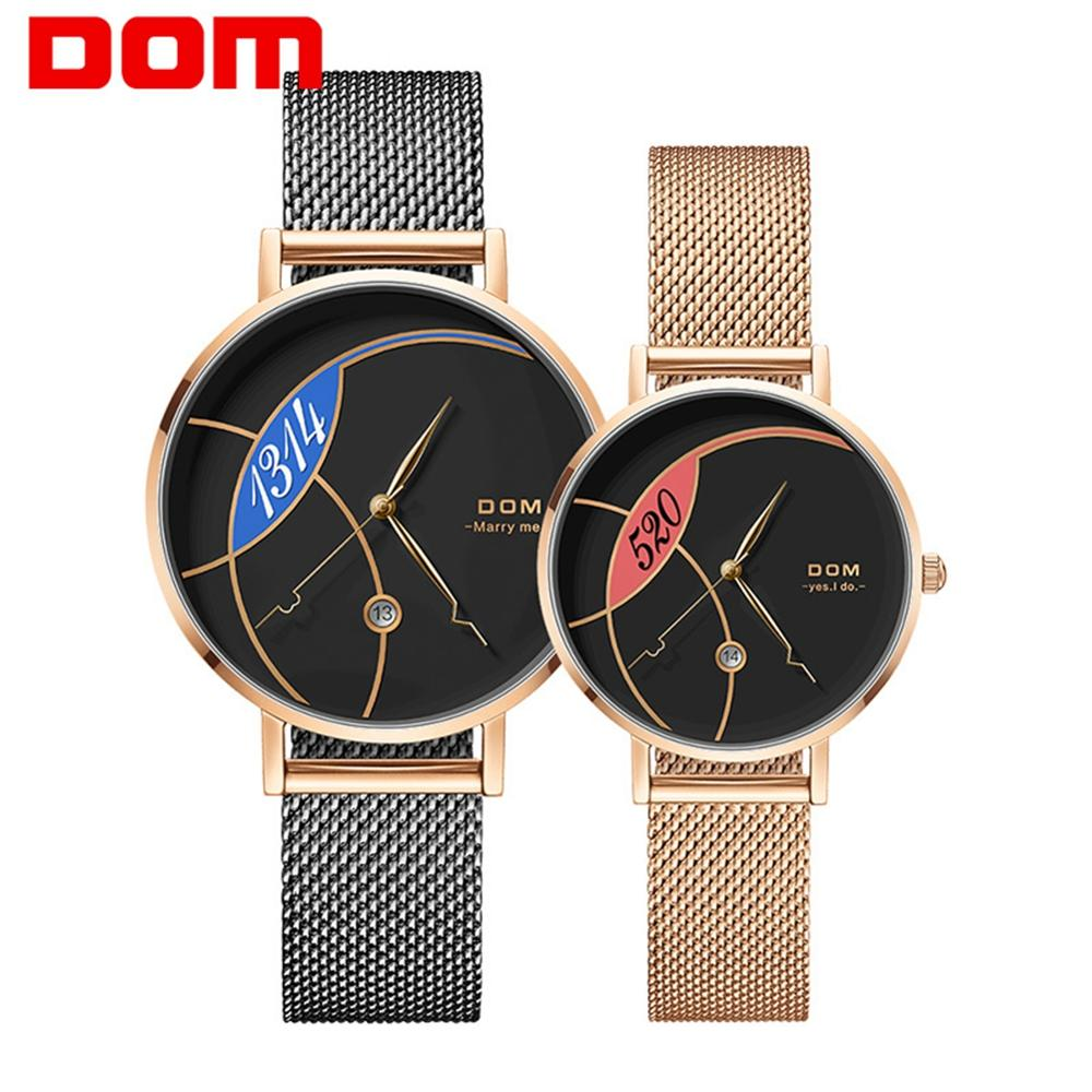 Couple Watch DOM Fashion Quartz Watch Women Luxury Stainless Steel Quartz Watch Men's Wristwatch For Lovers Relogio Masculin