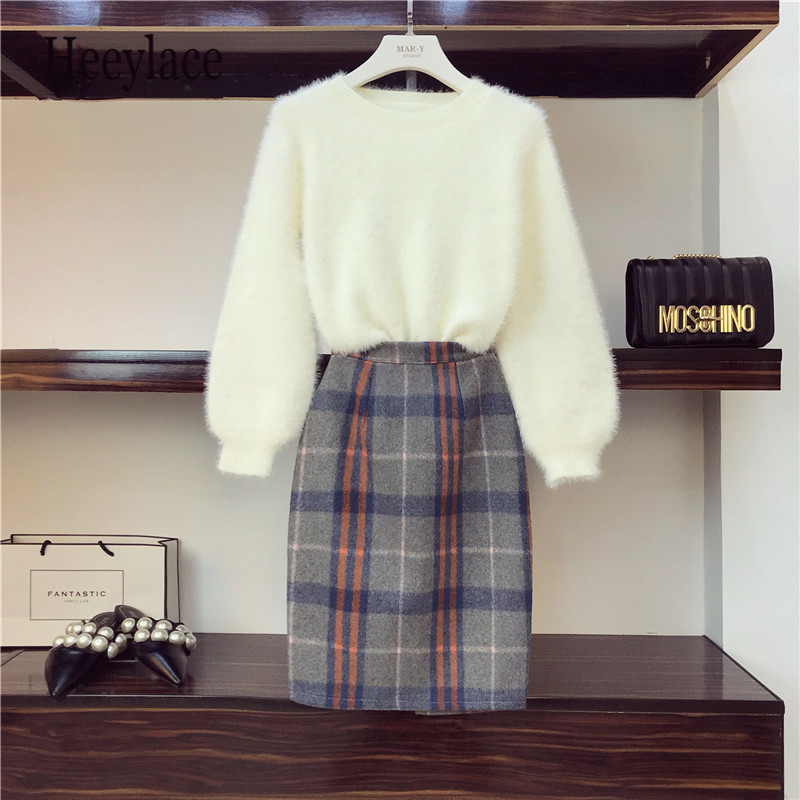 Plus Size Autumn Winter Loose Lantern Sleeves Mink Velvet Thickening Sweater + Bodycon Skirt 2 Piece Sets Ladies Office Clothes