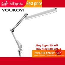 Youkoyi escritório lâmpada de mesa braçadeira 3 nível dimmer ajustável braço oscilante arquiteto conduziu a lâmpada mesa com carga usb ledlamp luzes lâmpadas