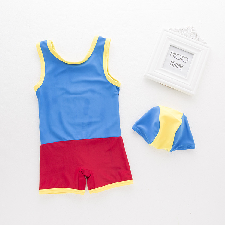 KID'S Swimwear Boys' Cotton One-piece Swimsuit Locomotive Cartoon Vest Swimwear Casual Holiday Beach Hot Springs Clothing