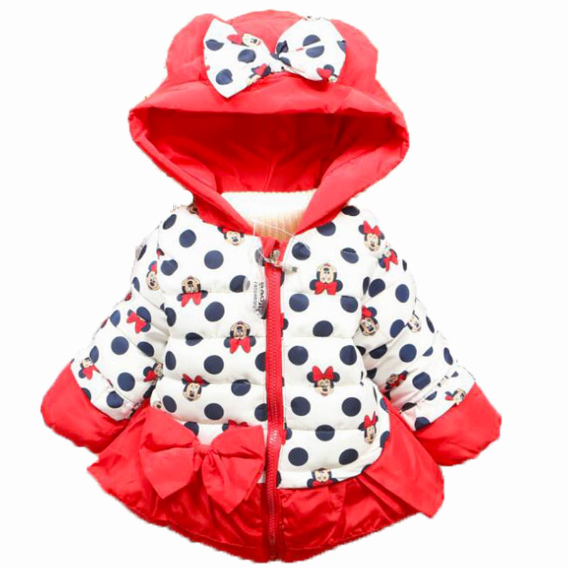 New Hot Baby Girls Christmas Costume Autumn Winter Minnie Dot Jacket Coat Clothes Kids Children Warm Outerwear Clothing With Bow