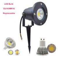 무료 배송 led 가든 라이트 GU10 led 잔디 램프 MR16 스파이크 스포트 라이트 야외 사용을위한 방수 잔디 빛
