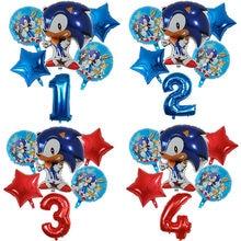 6 pçs dos desenhos animados sonic balões super herói 30 number número estrela folha balão de hélio bebê menina brithday tema festa decoração brinquedos