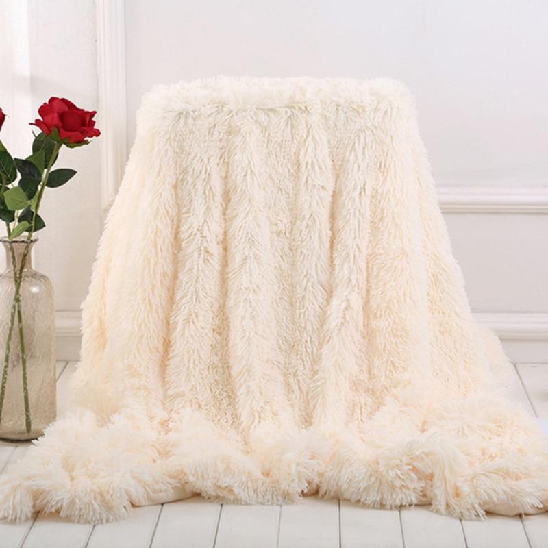 Super Soft Faux Fur Blanket Fuzzy Fur Faux Elegant Cozy With Fluffy Throw Blanket Bed Long  Shaggy Soft Warm Bedding Sheet Large