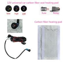 12VCarbon Fiber Universal Verwarmde Seat verwarming Heater Pads Auto Hoge/Lage Ronde Schakelaar Verwarming Warmer autos Seat verwarming snel sturen