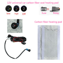 Aquecedor de assento de fibra de carbono, 12 vcarbono aquecimento universal almofadas aquecimento de assento de carro alta/baixa interruptor redondo aquecedor de carros envio rápido rápido enviar