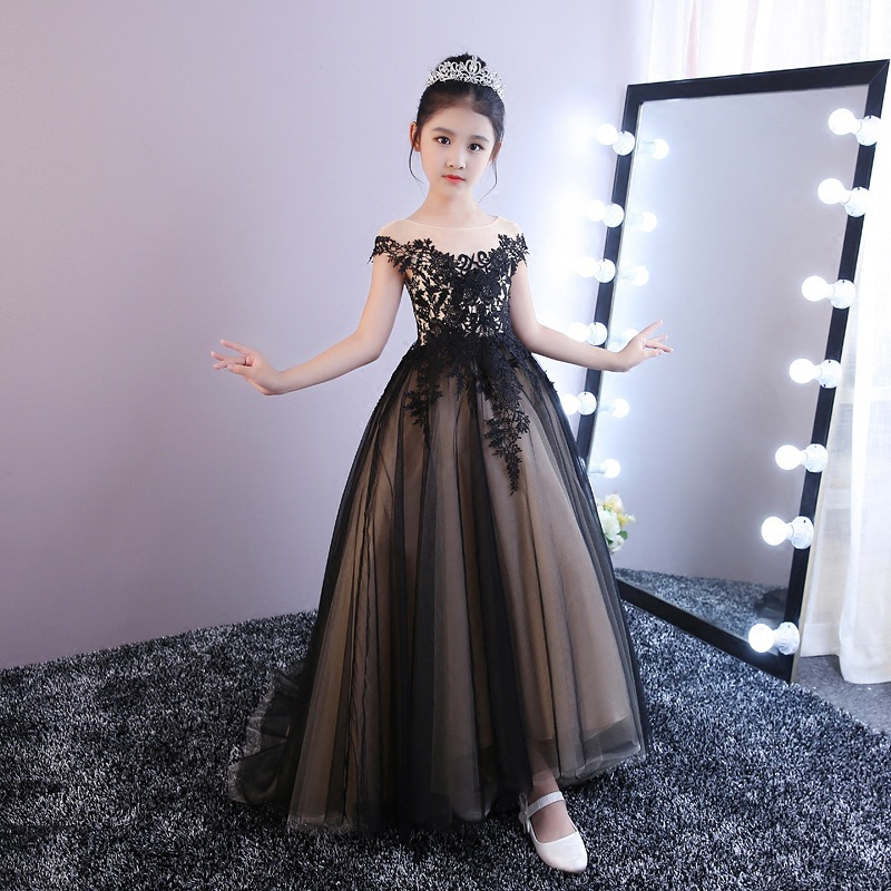 Princess Dress Girls Tutu Children Birthday Late Formal Dress New Style Catwalks Long Tailing Host Performance Formal Dress