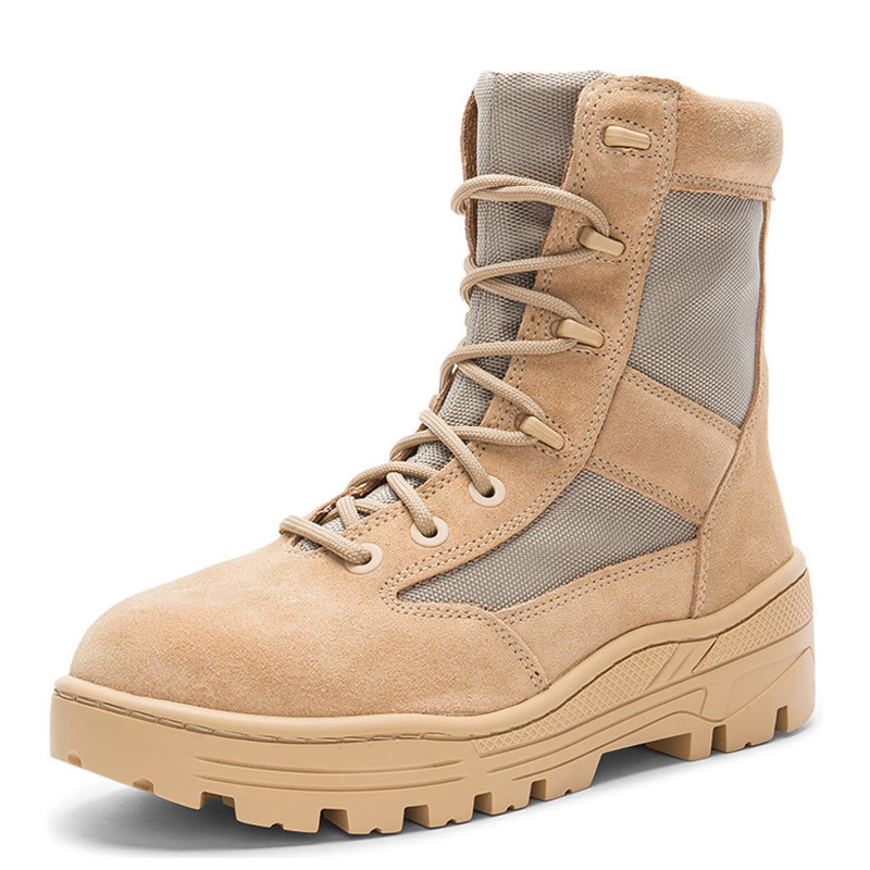 Military Mens Antiskid Platform High Top Ankle Boots Lace Up Genuine Leather Army Tactical Desert Botas Male Casual  Shoes