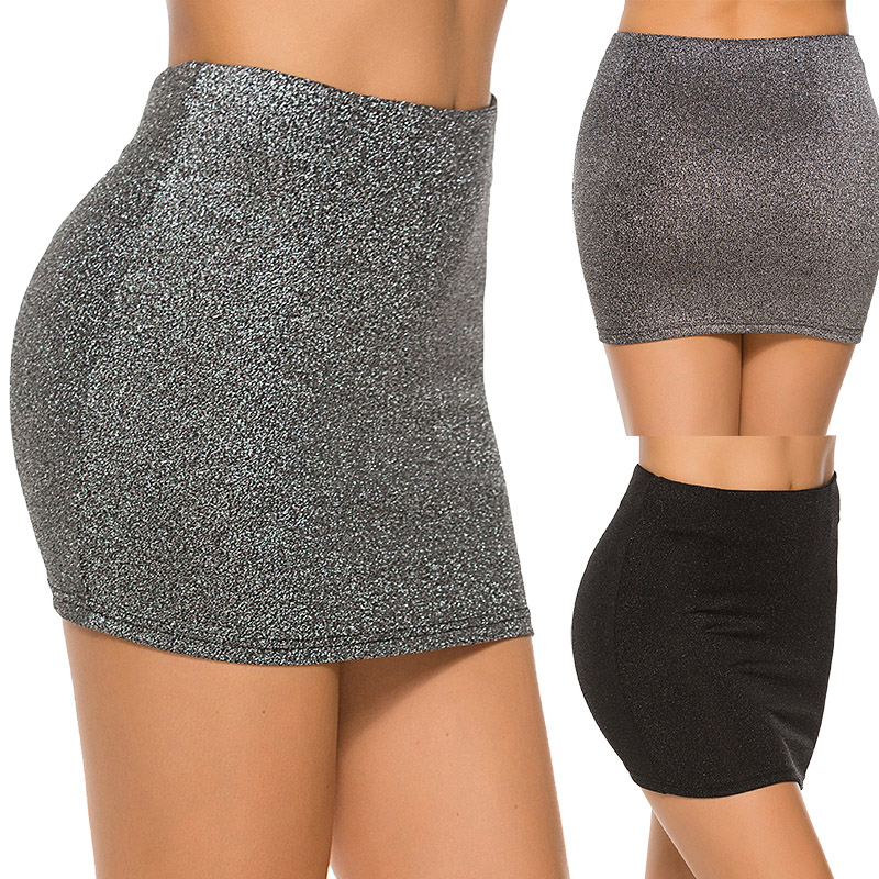 Korean Style Black Silver Elastic Waist Super Mini Skirt Sexy Women High Waist Short Skirt Office Party Pencil Skirts