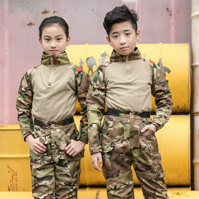 Breathability Elastic Cotton Camouflage Uniform For Children Multi Pocket Long Sleeve Army Tactical Scouting Training Costome