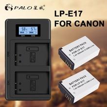 PALO 2Pcs LPE17 LP E17 LP-E17 camera Battery+LCD USB Dual Charger for Canon EOS M3 M6 200D 750D 800D 8000D 760D T6i T6s Kiss X8i