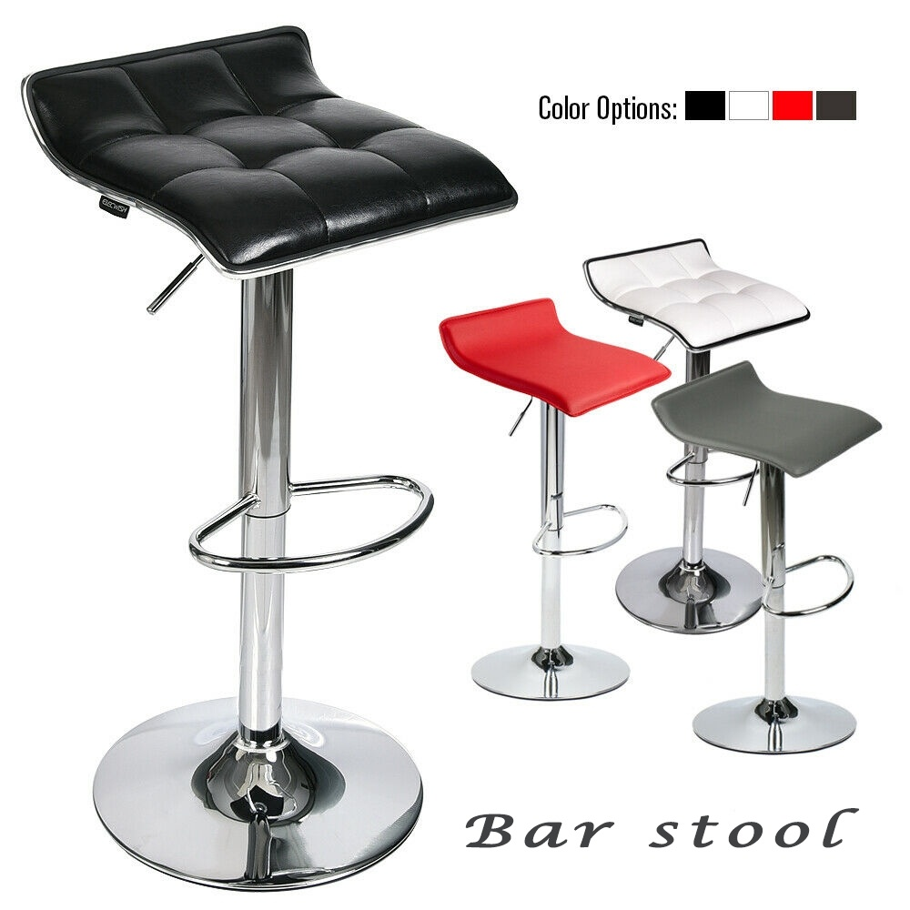 Set Of 2 Bar Stools Pub Chairs Adjustable PU Leather Swivel Seat Counter Diningroom Kitchen