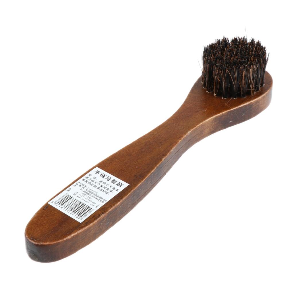 Long Wood Handle Bristle Horse Hair Brush Shoe Boot Polishing Buffing Cleaning Horse Mane Brush Wooden Shoes Brush