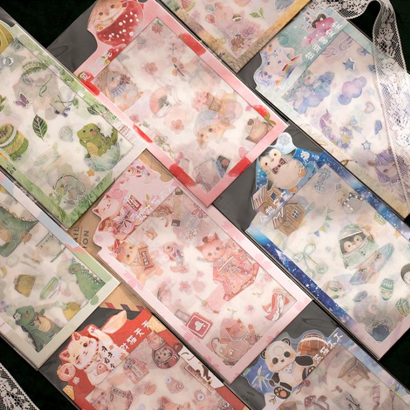 4 Pcs/bag cartoon animals gilding mini paper sticker decoration stickers DIY diary scrapbooking plan