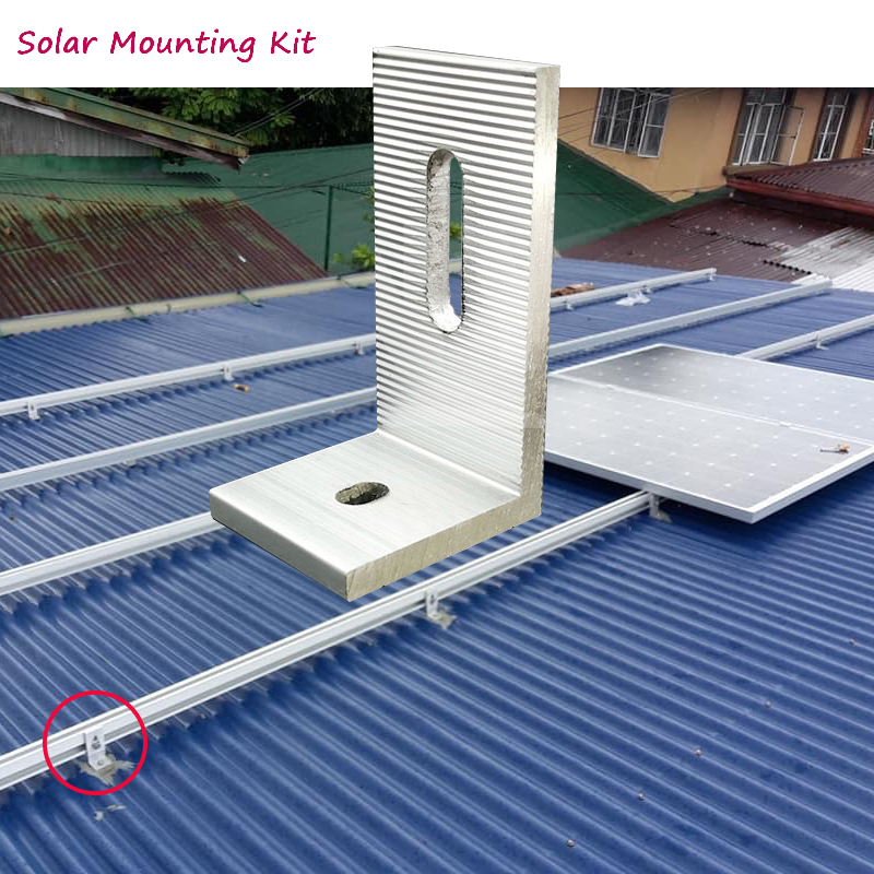 5pcs Solar Panel Mounting Brackets Kit Aluminum  L  Feet Clamp Fixed On Home Solar Panel   With Screws On Off  Grid Solar System