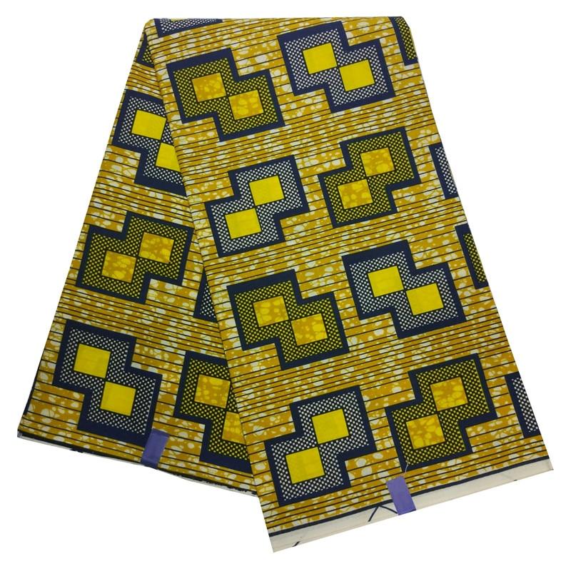 Nederlands Wax African Fabrics 6 Yards Geometry Print Yellow Wax Fabric