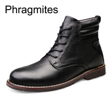 Phragmites Mens Motorcycle Martin Boots Leather Combat Fur Winter Shoes High Quality