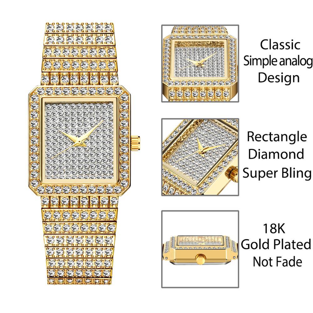 MISSFOX Diamond Watch For Women Luxury Brand Ladies Gold Square Watch Minimalist Analog Quartz Movt Unique Female Iced Out Watch 3