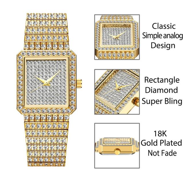 Diamond Watch For Women Luxury Brand Ladies Gold Square Watch Minimalist Analog Quartz Movt Unique Female Iced Out Watch 3