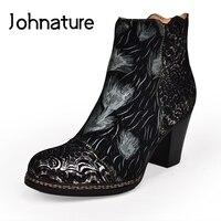 Johnature bottes à talons hauts en cuir véritable 2020 nouveau automne femmes chaussures Zip bout rond talon carré fleur Totem bottines