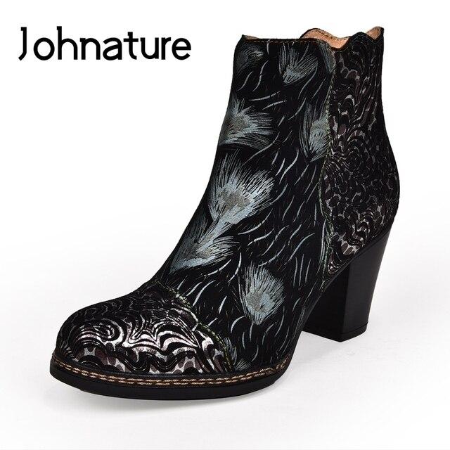 Johnature גבוהה העקב מגפי עור אמיתי 2020 חדש סתיו נשים נעלי Zip עגול הבוהן כיכר העקב פרחוני טוטם קרסול מגפיים