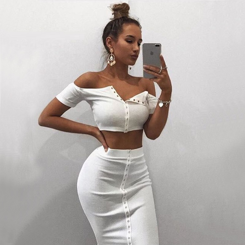2020 New Arrival Summer Sexy Stripe Crop Top Women Short Sleeve Women Button Front Off Shoulder Ribbed Crop Top