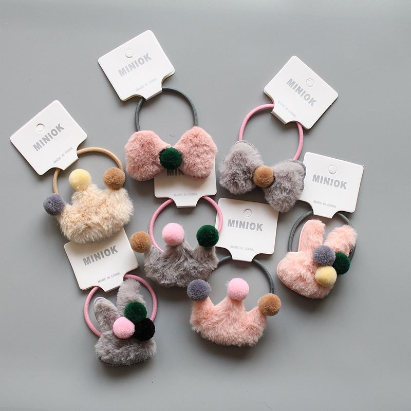 Winter Soft Plush Love Crown Rabbit Bow Hairball Pom Pom Kids Elastic Hair Rope Baby Girls Rubber Band Baby Hair Accessories