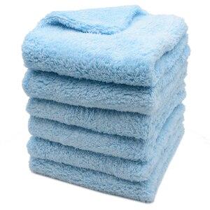 Image 2 - 6PCS 500GSM ULTRA หนา Edgeless ผ้าขนหนูไมโครไฟเบอร์ผ้าทำความสะอาดรถยนต์ล้าง Waxing Polishing ผ้าขนหนูสีฟ้าสีเทา