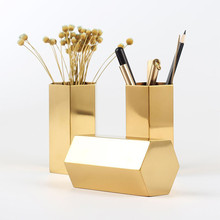 Simple Pen Holder Stainless Steel Hexagonal Gold Inserted Vase Office Household Metal Storage Compartment Tube Ornaments