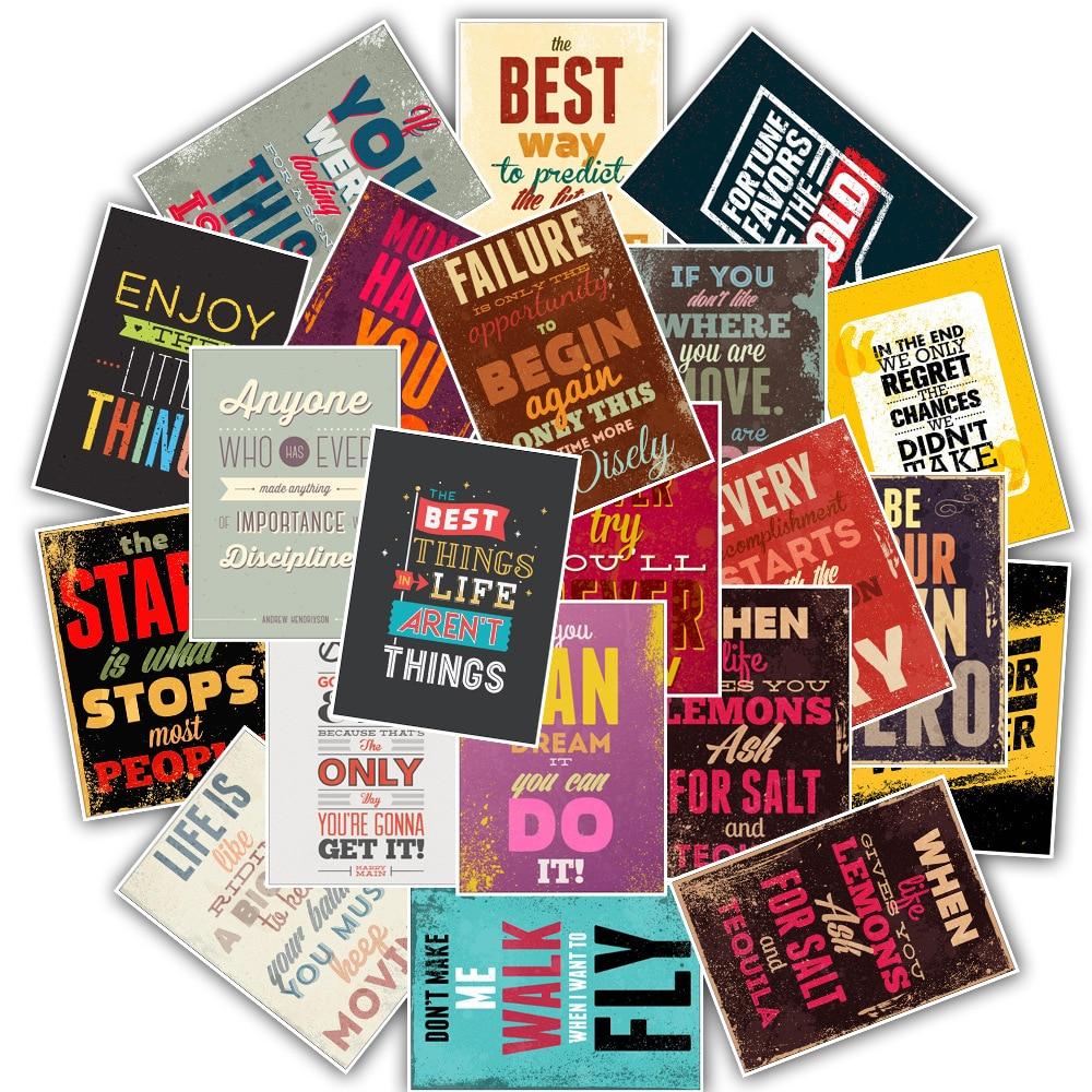 25PCS Inspirational Motto Posters Stickers Waterproof PVC Travel Skateboard Laptop Luggage Fridge Phone Kids Toys Vsco Sticker