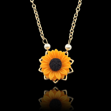 Pearl New Creative Sunflower Pendant Necklace Sweater Necklaces for Women Jewelry gift imixlot new creative sunflower pendant necklaces vintage fashion daily jewelry temperament cute sweater necklaces for women