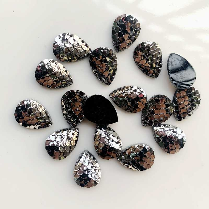 Silah siyah 90 adet 10*14mm & 13*18mm su damlası balık pulu düz geri reçine cabochons bilezik küpe aksesuarları-24T131