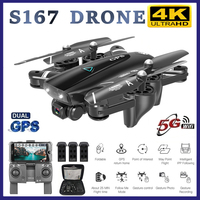 S167 Pro GPS RC Drone with 4K HD Camera 5G WIFI FPV Drone Way point Flying Gesture Photo Brushless Foldable Quadcopter Mini Dron