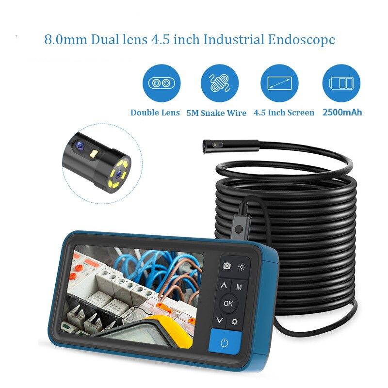 1080p HD 8.0MM Dual Lens 5.5mm Lens 4.5 Inch LCD Endoscope Borescope 5M Snake Flexible Tube Inspection Camera  3.9mm Otoscope