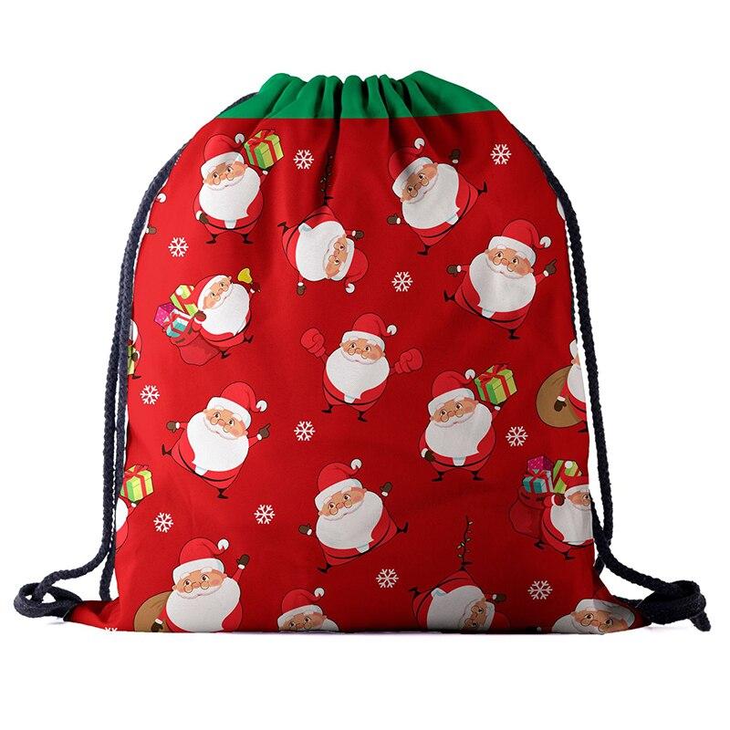 Drawstring Backpack Fashion Women 3D Printing Travel Softback Men  Drawstring Bags Santa New Unisex Women's Shoulder Factory New